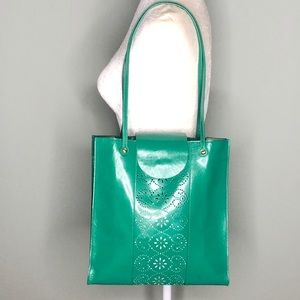 HOBO Perforated Green Leather tote